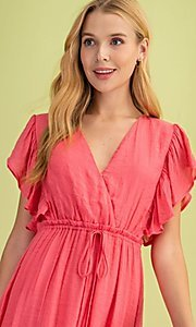 Image of coral pink casual ruffle-sleeve maxi dress. Style: FG-BNB-21-LLOLV59154 Detail Image 3