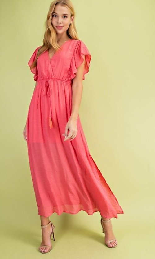Image of coral pink casual ruffle-sleeve maxi dress. Style: FG-BNB-21-LLOLV59154 Front Image