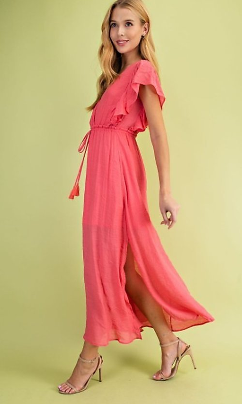 Image of coral pink casual ruffle-sleeve maxi dress. Style: FG-BNB-21-LLOLV59154 Detail Image 1