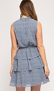 Image of dusty light blue short tiered casual party dress. Style: FG-BNB-21-SSSS61570 Back Image