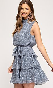 Image of dusty light blue short tiered casual party dress. Style: FG-BNB-21-SSSS61570 Detail Image 1