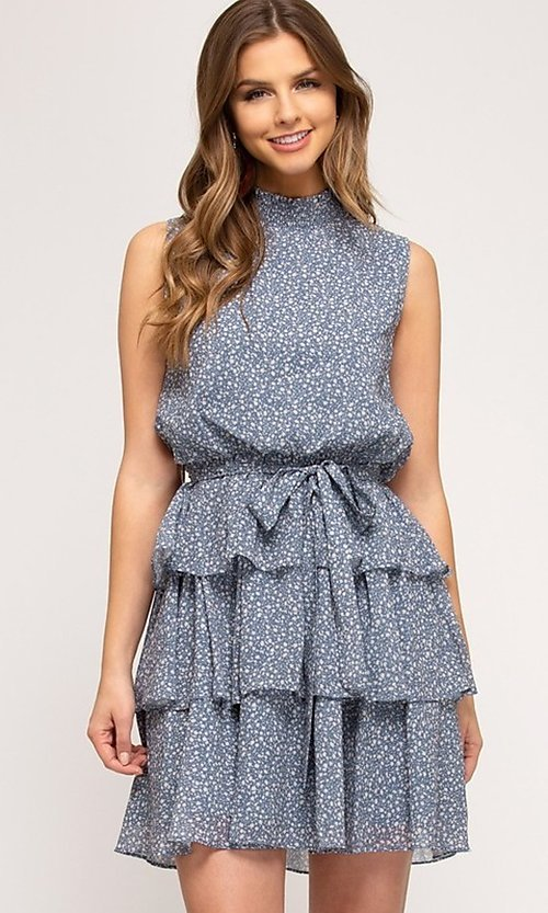 Image of dusty light blue short tiered casual party dress. Style: FG-BNB-21-SSSS61570 Front Image
