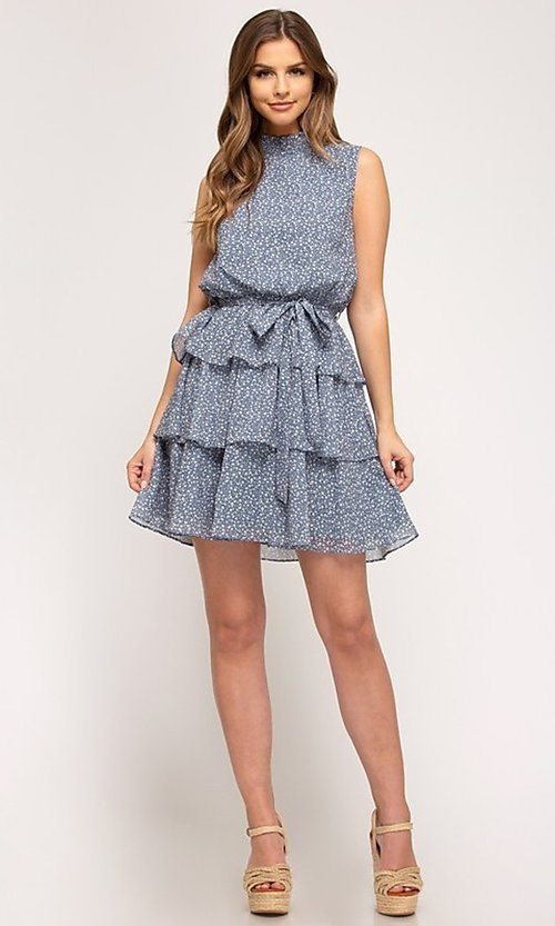 Image of dusty light blue short tiered casual party dress. Style: FG-BNB-21-SSSS61570 Detail Image 2