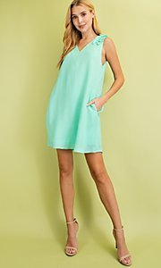 Image of sleeveless mint green short casual party dress. Style: FG-BNB-21-LLOLV79729 Detail Image 3