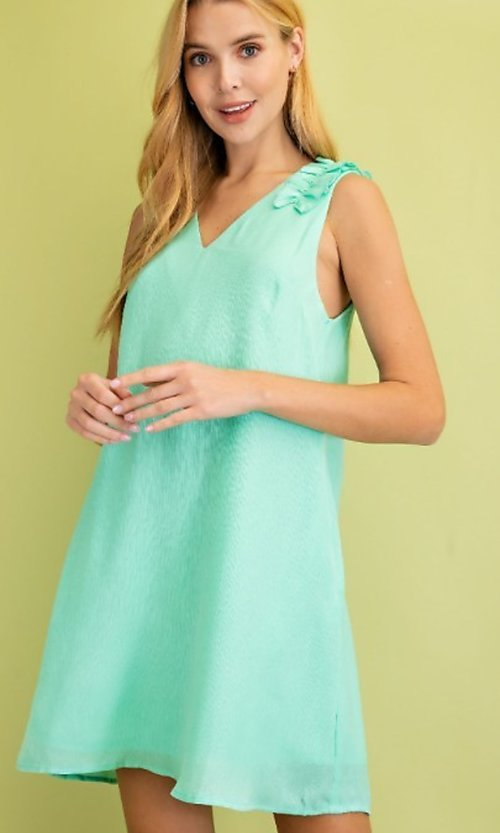Image of sleeveless mint green short casual party dress. Style: FG-BNB-21-LLOLV79729 Front Image