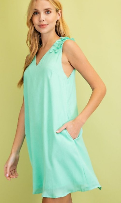 Image of sleeveless mint green short casual party dress. Style: FG-BNB-21-LLOLV79729 Detail Image 1