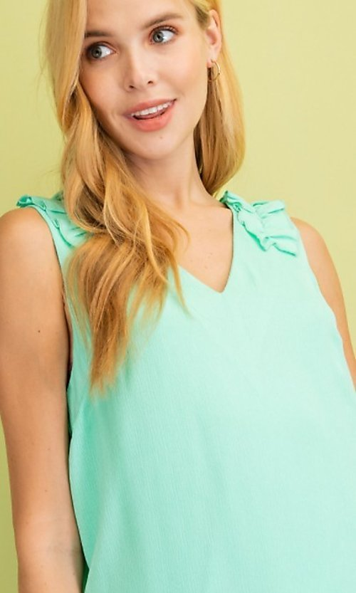 Image of sleeveless mint green short casual party dress. Style: FG-BNB-21-LLOLV79729 Detail Image 2