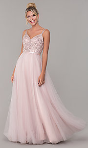 Image of dusty pink long ball-gown prom dress. Style: DQ-2519-v Front Image