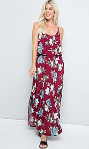 Image of floral print casual maxi party dress with pockets. Style: FG-FTA-21-SLG8761 Detail Image 3