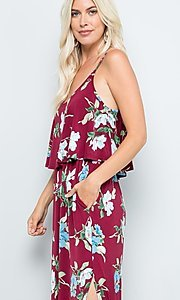 Image of floral print casual maxi party dress with pockets. Style: FG-FTA-21-SLG8761 Detail Image 5