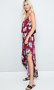 Image of floral print casual maxi party dress with pockets. Style: FG-FTA-21-SLG8761 Detail Image 6