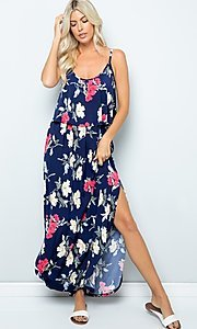 Image of floral print casual maxi party dress with pockets. Style: FG-FTA-21-SLG8761 Front Image