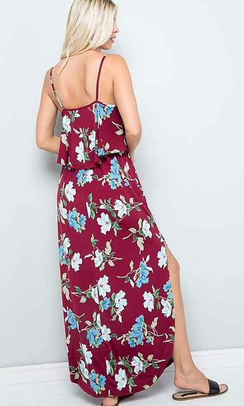 Image of floral print casual maxi party dress with pockets. Style: FG-FTA-21-SLG8761 Detail Image 4