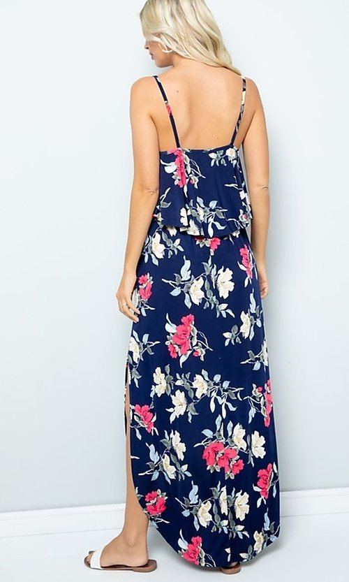 Image of floral print casual maxi party dress with pockets. Style: FG-FTA-21-SLG8761 Back Image