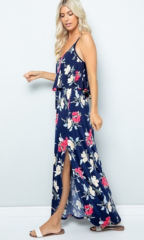 Image of floral print casual maxi party dress with pockets. Style: FG-FTA-21-SLG8761 Detail Image 1