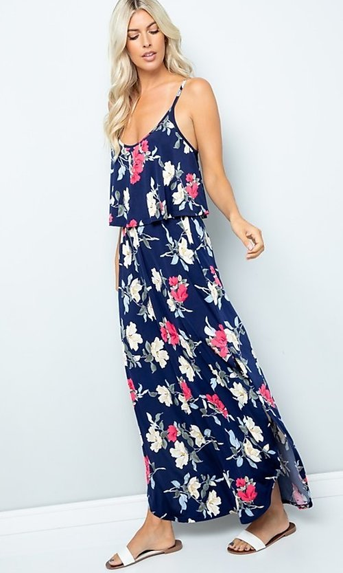 Image of floral print casual maxi party dress with pockets. Style: FG-FTA-21-SLG8761 Detail Image 2