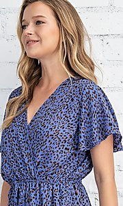 Image of casual blue leopard print short summer party dress. Style: FG-FTA-21-SLG8197 Detail Image 2