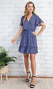 Image of casual blue leopard print short summer party dress. Style: FG-FTA-21-SLG8197 Detail Image 4