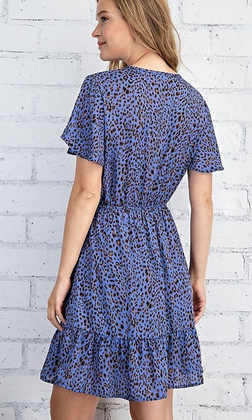 Image of casual blue leopard print short summer party dress. Style: FG-FTA-21-SLG8197 Back Image