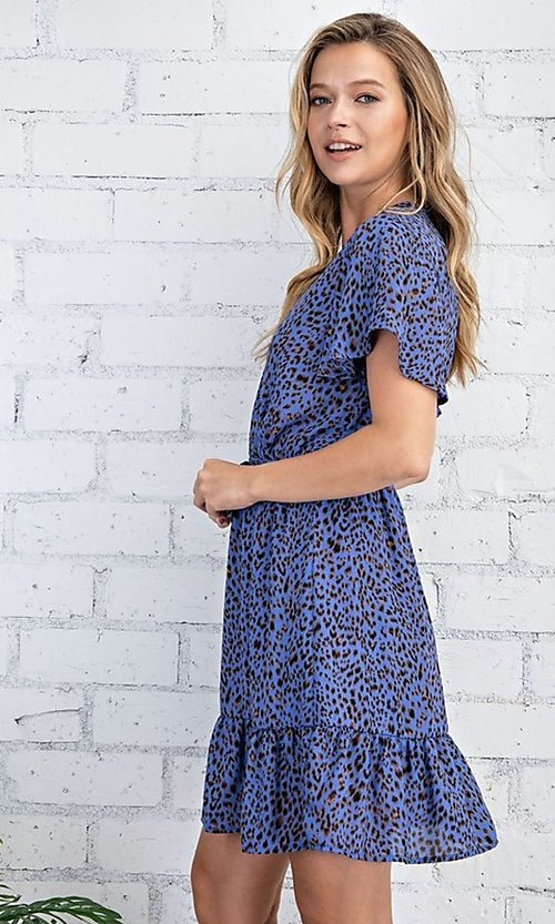 Image of casual blue leopard print short summer party dress. Style: FG-FTA-21-SLG8197 Detail Image 1