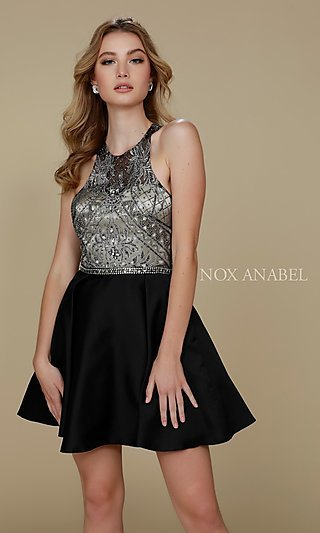Fit-and-Flare Short Satin A-Line Homecoming Dress