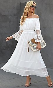 Image of off-shoulder white maxi dress with lace sleeves. Style: FG-SHI-21-SW611985 Detail Image 1