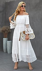 Image of off-shoulder white maxi dress with lace sleeves. Style: FG-SHI-21-SW611985 Detail Image 3