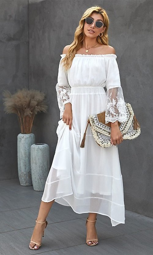 Image of off-shoulder white maxi dress with lace sleeves. Style: FG-SHI-21-SW611985 Front Image