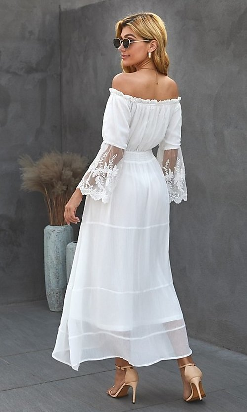 Image of off-shoulder white maxi dress with lace sleeves. Style: FG-SHI-21-SW611985 Back Image
