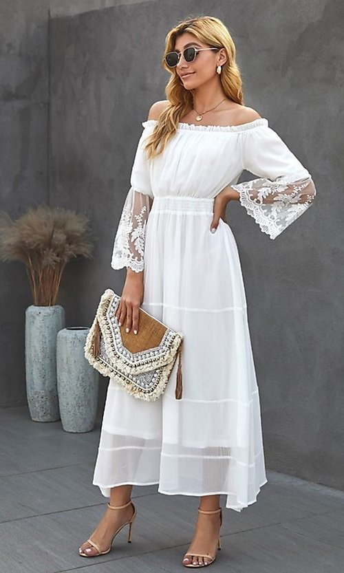 Image of off-shoulder white maxi dress with lace sleeves. Style: FG-SHI-21-SW611985 Detail Image 2