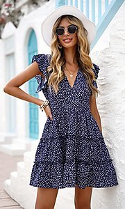 Image of tiered polka dot print short casual party dress. Style: FG-SHI-21-SW224403 Front Image