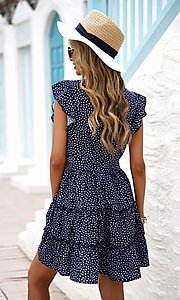 Image of tiered polka dot print short casual party dress. Style: FG-SHI-21-SW224403 Back Image