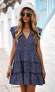 Image of tiered polka dot print short casual party dress. Style: FG-SHI-21-SW224403 Detail Image 1