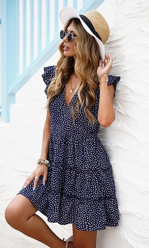 Image of tiered polka dot print short casual party dress. Style: FG-SHI-21-SW224403 Detail Image 2