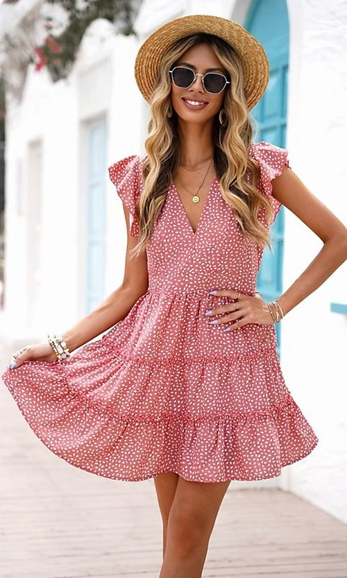 Image of tiered polka dot print short casual party dress. Style: FG-SHI-21-SW224403 Detail Image 3