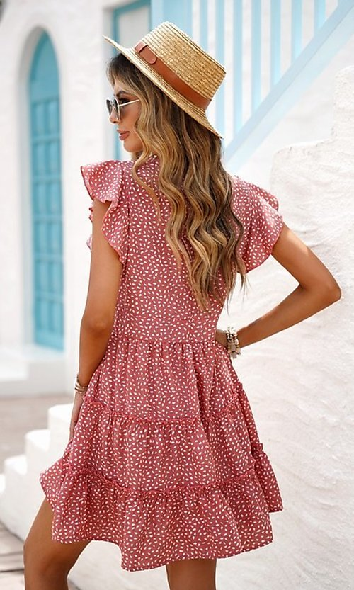 Image of tiered polka dot print short casual party dress. Style: FG-SHI-21-SW224403 Detail Image 4