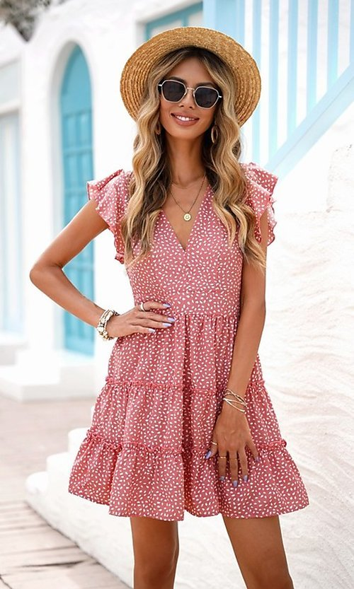 Image of tiered polka dot print short casual party dress. Style: FG-SHI-21-SW224403 Detail Image 5