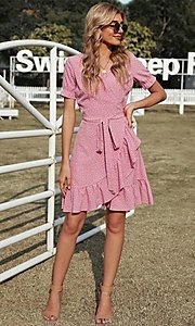 Image of wrap-style pink short sleeve short casual dress. Style: FG-SHI-21-SW223660-10 Front Image