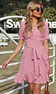 Image of wrap-style pink short sleeve short casual dress. Style: FG-SHI-21-SW223660-10 Detail Image 1