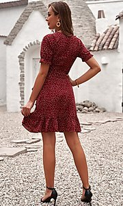 Image of wrap-style pink short sleeve short casual dress. Style: FG-SHI-21-SW223660-10 Detail Image 4