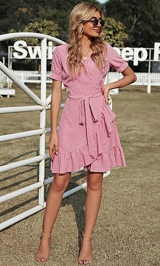 Wrap-Style Pink Short Sleeve Short Casual Dress