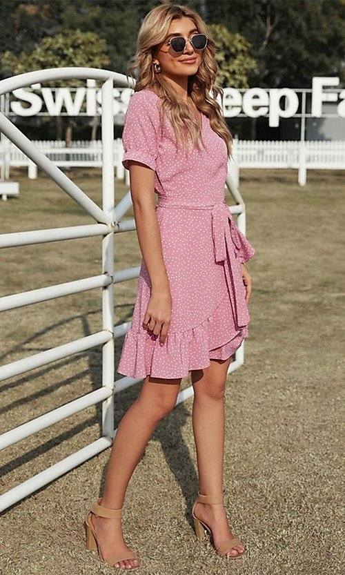 Image of wrap-style pink short sleeve short casual dress. Style: FG-SHI-21-SW223660-10 Detail Image 2
