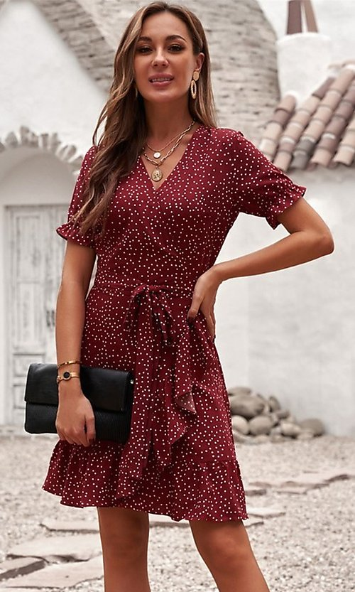 Image of wrap-style pink short sleeve short casual dress. Style: FG-SHI-21-SW223660-10 Detail Image 3