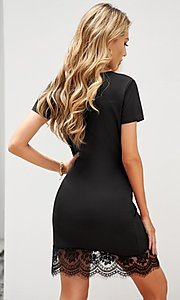 Image of lace-trim fitted short sleeve little black dress. Style: FG-SHI-21-SW223940-2 Back Image