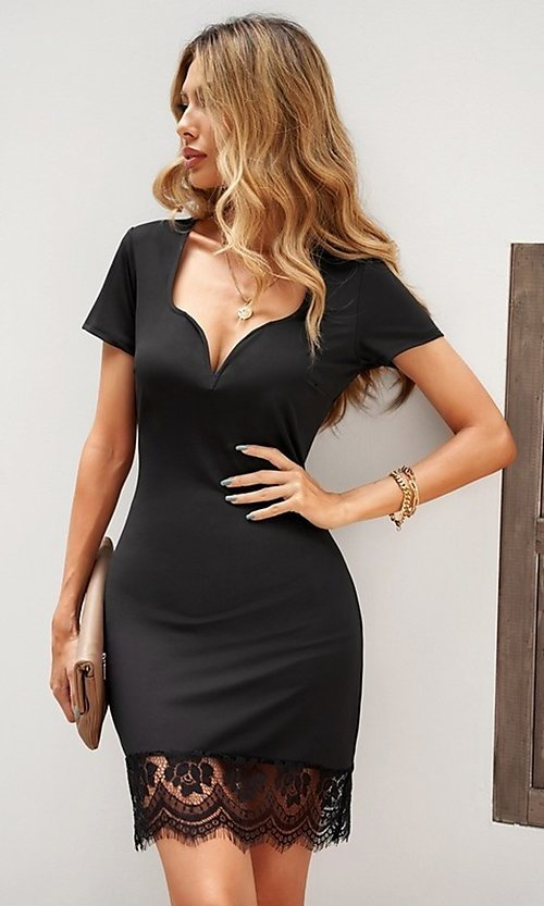 Image of lace-trim fitted short sleeve little black dress. Style: FG-SHI-21-SW223940-2 Front Image