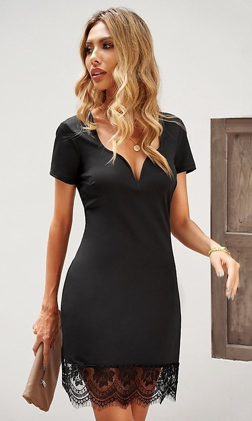 Image of lace-trim fitted short sleeve little black dress. Style: FG-SHI-21-SW223940-2 Detail Image 1