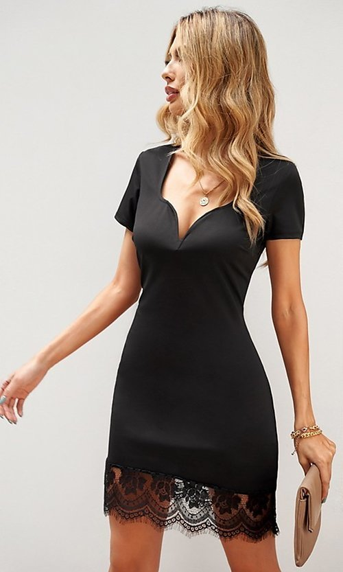 Image of lace-trim fitted short sleeve little black dress. Style: FG-SHI-21-SW223940-2 Detail Image 2