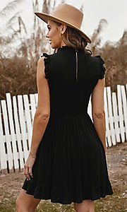 Image of ruffle cap-sleeve short a-line casual party dress. Style: FG-SHI-21-SW223664 Detail Image 4