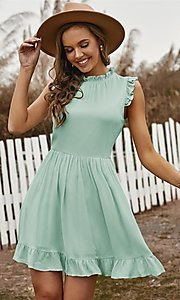 Image of ruffle cap-sleeve short a-line casual party dress. Style: FG-SHI-21-SW223664 Detail Image 2