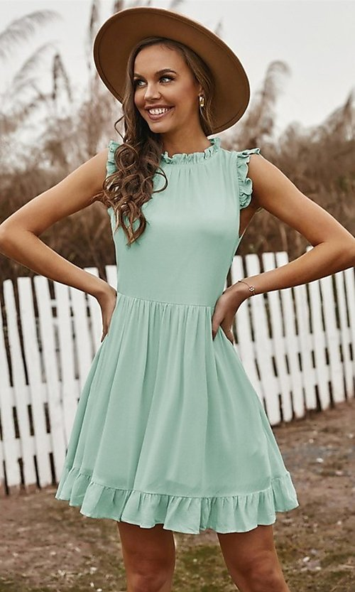 Image of ruffle cap-sleeve short a-line casual party dress. Style: FG-SHI-21-SW223664 Detail Image 1